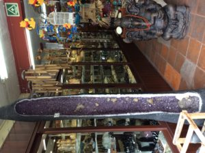 Mineral shop and giant amethyst in Tepoztlan
