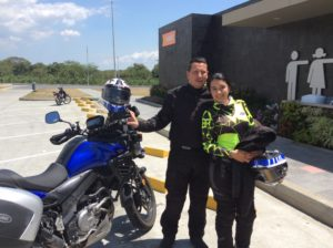 Walter and Claudia were from Calí and had traveled by Motorcycle to Patagonia. Walter donated a couple of dollars.