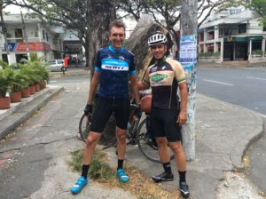 """Jonathan and Gustavo who rode passed me on their bikes coming into calí and then took me to a coffee shop. Jonathan is an expat from the UK teaching English in Calí. I'm expecting plenty of """"peer review"""" from each as well as from Jonathon's students."""