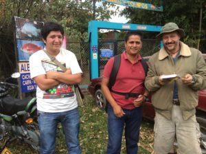 Limnologist Alessandro Della Porta, right, with friends Fredy (red shirt) and Miguel.