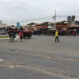 Lambayeque. The motorcycle drawn tuktuk said out number cars in northern Peru.