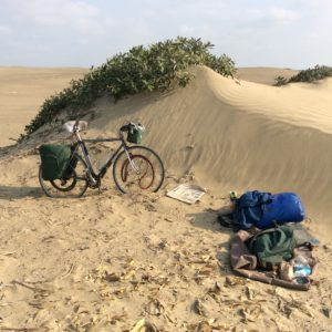 Another sandy camp. The pingo-like sand mounds offer a little wind protection.