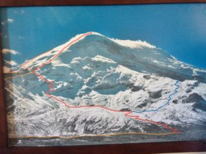 """Photo showing routes on Chimborazo. I was on the """"red line"""" to about the last switchback before the long ridge to the summit."""