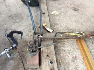 Brazing the fork crown.