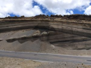 Another puzzle: This is a textbook. Unconformity near Chimborazo. How did the upper group become folded while the lower stayed straight?