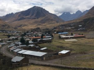 Town of Pachapaqui. The highway climbs to the glaciated valley right of the foreground mountain.