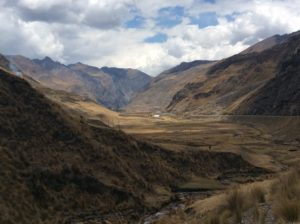 The lower end of this valley marks the extent of glaciation where thee flat-bottomed valley drops into the V-shaped canyon.
